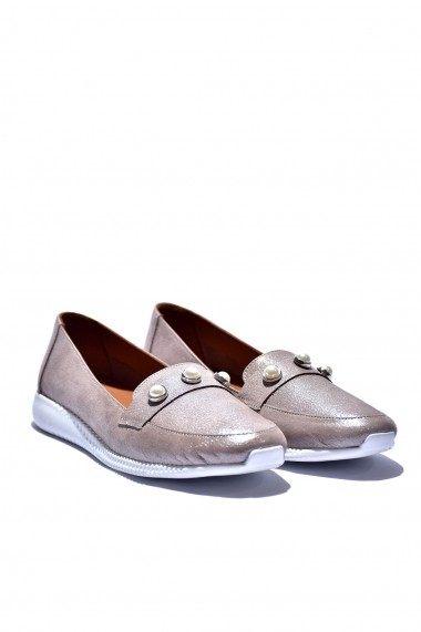 Pantofi piele naturala Torino 862 bej sidef