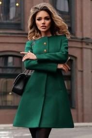 Palton ChicDiva scurt evazat cu cordon din stofa Dulcis Verde