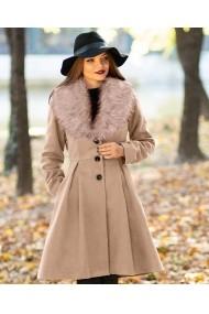 Palton ChicDiva evazat cu guler din blana ecologica din stofa Natalie Bej