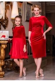 Set rochii mama-fiica FamilyFashion Katy&Katia Rosu