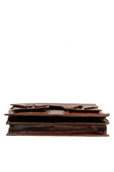 Servieta barbati pentru laptop si acte , din piele naturala, maro, S151B