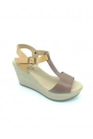 Sandale Bahia din piele naturala si platforma Maro