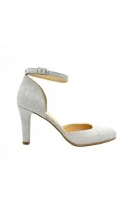 Sandale cu toc Rico piele naturala flori Gri