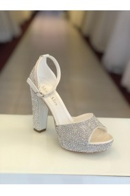 Sandale cu platforma si cristale Moda Aliss SD002 Alb
