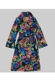 Palton oversize Lewo din stofa de lana imprimeu multicolor