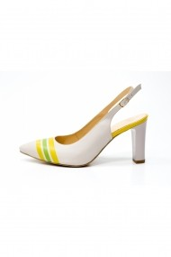 Pantofi cu toc decupati cu decor Thea Visconti Bej