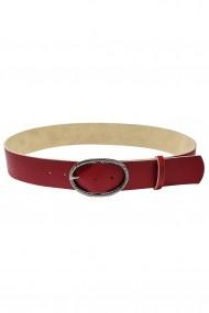 Curea Mabotex din piele naturala rosie cu catarama metalica antic silver 5cm