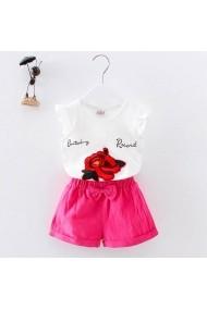Set 2 piese fetite Malvera tricou alb cu trandafir si pantaloni scurti roz