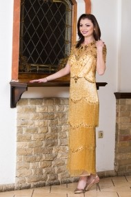 Rochie eleganta lunga Malvera Luxury cu franjuri de sticla aurii