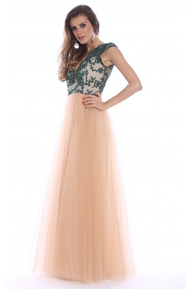 Rochie verde Roserry lunga din broderie si tulle