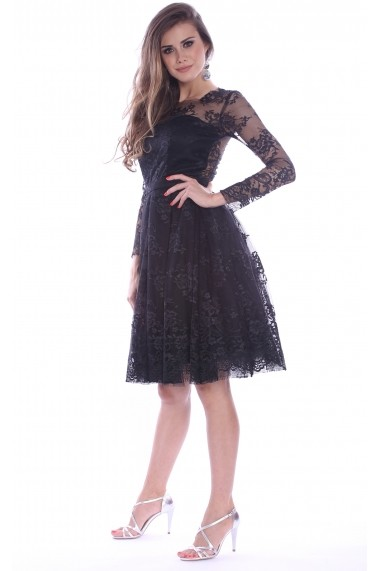 Rochie neagra Roserry din broderie si tulle - CRM 1RSY269