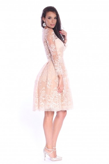 Rochie creme Roserry din broderie si tulle - CRM 1RSY272