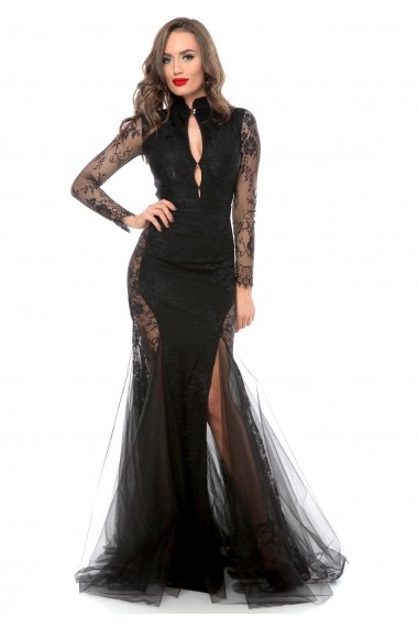 Rochie neagra Roserry din broderie si tulle cu bust stil tunica