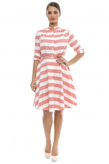 Rochie tip camasa Stripped Delicious - Sweet Rose of Mine alb, rosu DUO-SR001NSD