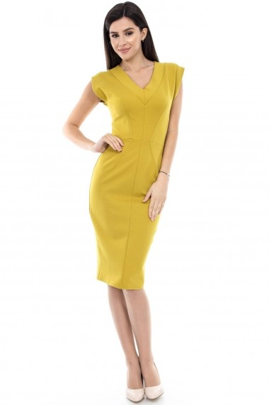 Rochie office Roh Boutique mustar cu decolteul in V - DR2737 mustar
