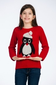 Pulover Be You rosu cu My Lovely Penguin