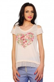 Bluza RVL Fashion Love Roses roz deschis