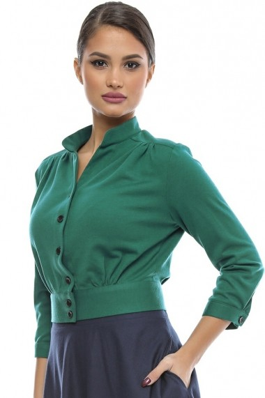 Bluza tip camasa Chic Green Shirt - Sweet Rose of Mine verde