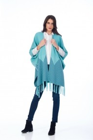 Poncho Be You turcoaz cu franjuri 0654