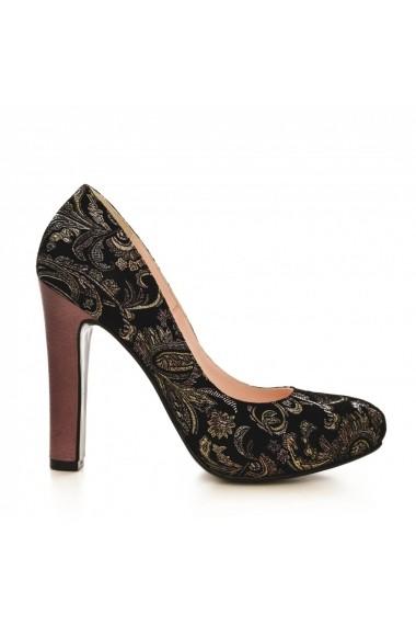 Pantofi cu toc CONDUR by alexandru 1240 negru si mov