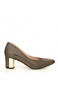 Pantofi cu toc CONDUR by alexandru 1416-presaj negru auriu 36