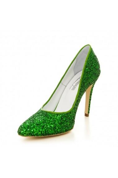 Pantofi cu toc CONDUR by alexandru 1422-glitter verde