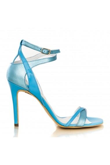 Sandale cu toc cu toc CONDUR by alexandru lac bleu cu presaj