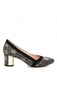 Pantofi cu toc CONDUR by alexandru 1609-presaj auriu cu negru