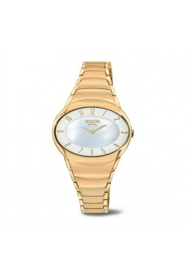 Ceas Boccia 3255-02, titan auriu, carcasa 32x28mm