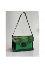 Geanta din piele naturala Anna Fellini Arina verde inchizatoare piele