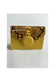 Geanta din piele naturala Anna Fellini Cora cu bulina galben