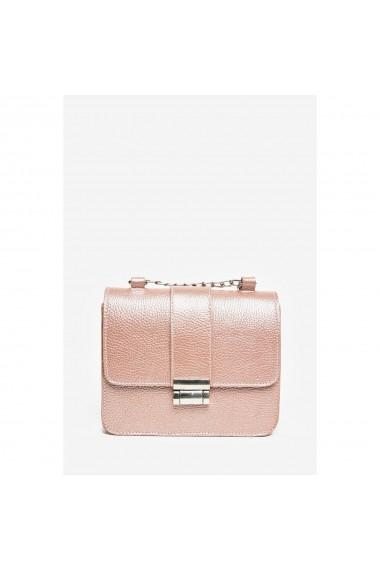 Geanta din piele naturala Anna Fellini Divya roz sidef