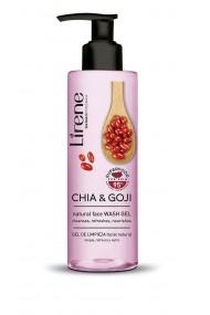 Gelul de curatare faciala LIRENE Superfood cu 95% ingrediente de origine naturala din chia si goji, 190ml