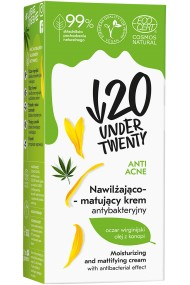 Crema hidratanta si matifianta cu efect antibacterian Under20 Extract de hamamelis, ulei de canabis, chimen negru, floare de colt, clorofila, 50ml