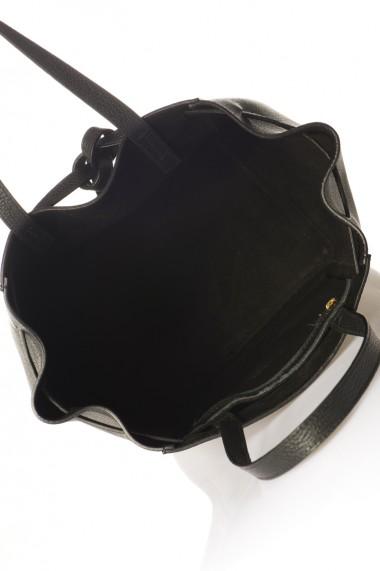 Geanta piele naturala FORTUNA DOLLARO BLACK NEGRU