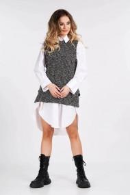 Vesta Amavi tricotata din lana cu nasturi Alb