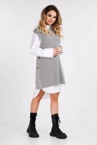 Vesta Amavi tricotata din lana cu nasturi Gri