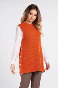 Vesta Amavi tricotata din lana cu nasturi Portocaliu