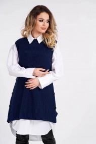 Vesta Amavi tricotata din lana cu nasturi Albastru