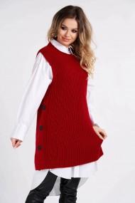 Vesta Amavi tricotata din lana cu nasturi Rosu