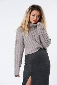 Pulover Amavi din tricot cu torsade Gri