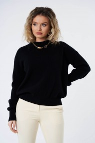 Pulover Amavi din tricot Negru