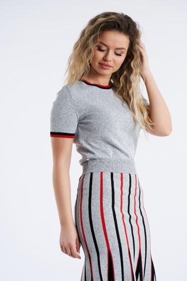 Tricou Amavi din tricot cu detaliu in contrast Gri