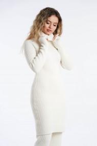Rochie Amavi din tricot cu guler Alb
