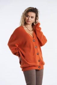 Cardigan Amavi tricotat din lana Portocaliu