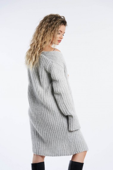Cardigan Amavi din tricot cu fir lurex Gri