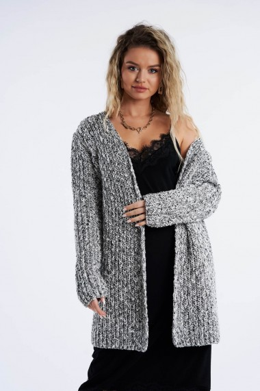 Cardigan Amavi din tricot melange Alb