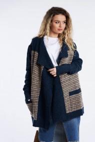 Cardigan Amavi din tricot cu croi asimetric Albastru