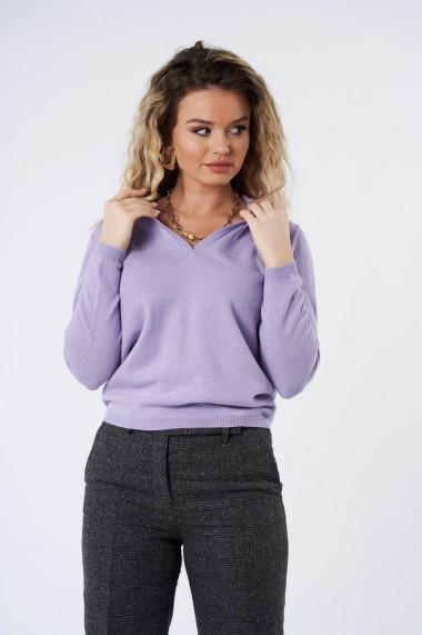 Bluza Amavi din tricot cu guler tip camasa Mov