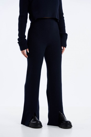 Pantaloni Amavii din tricot cu talie inalta Albastru